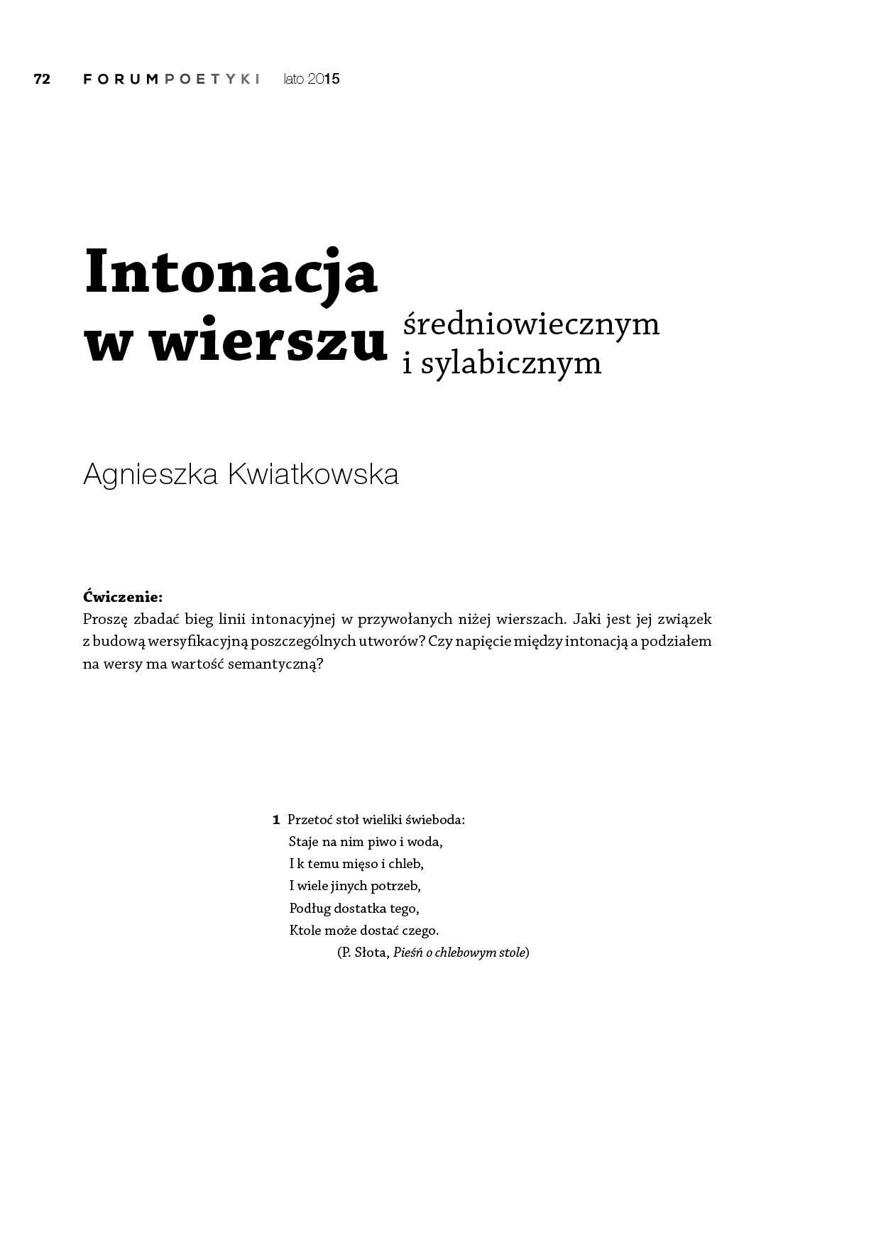Intonacja W Wierszu średniowiecznym I Sylabicznym ćwiczenia