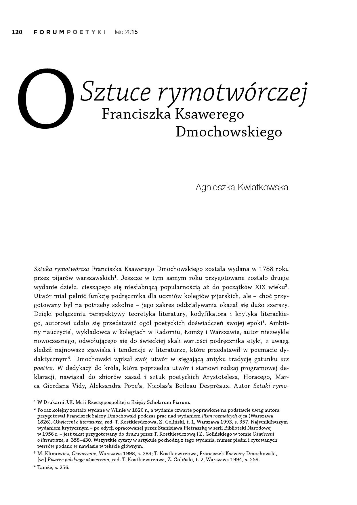 """O """"Sztuce rymotwórczej"""" Franciszka Ksawerego Dmochowskiego"""