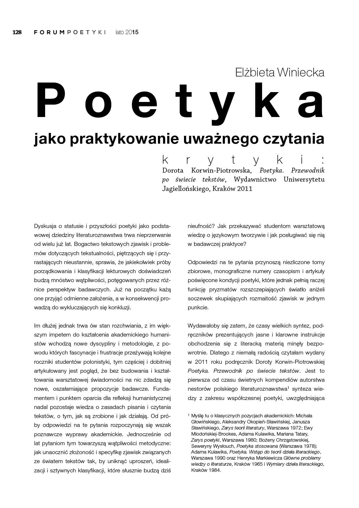 Poetyka jako praktykowanie uważnego czytania