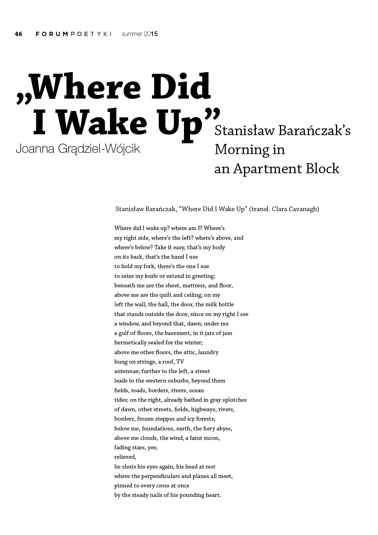 """Where Did I Wake Up"". Stanisław Barańczak's Morning in an Apartment Block"