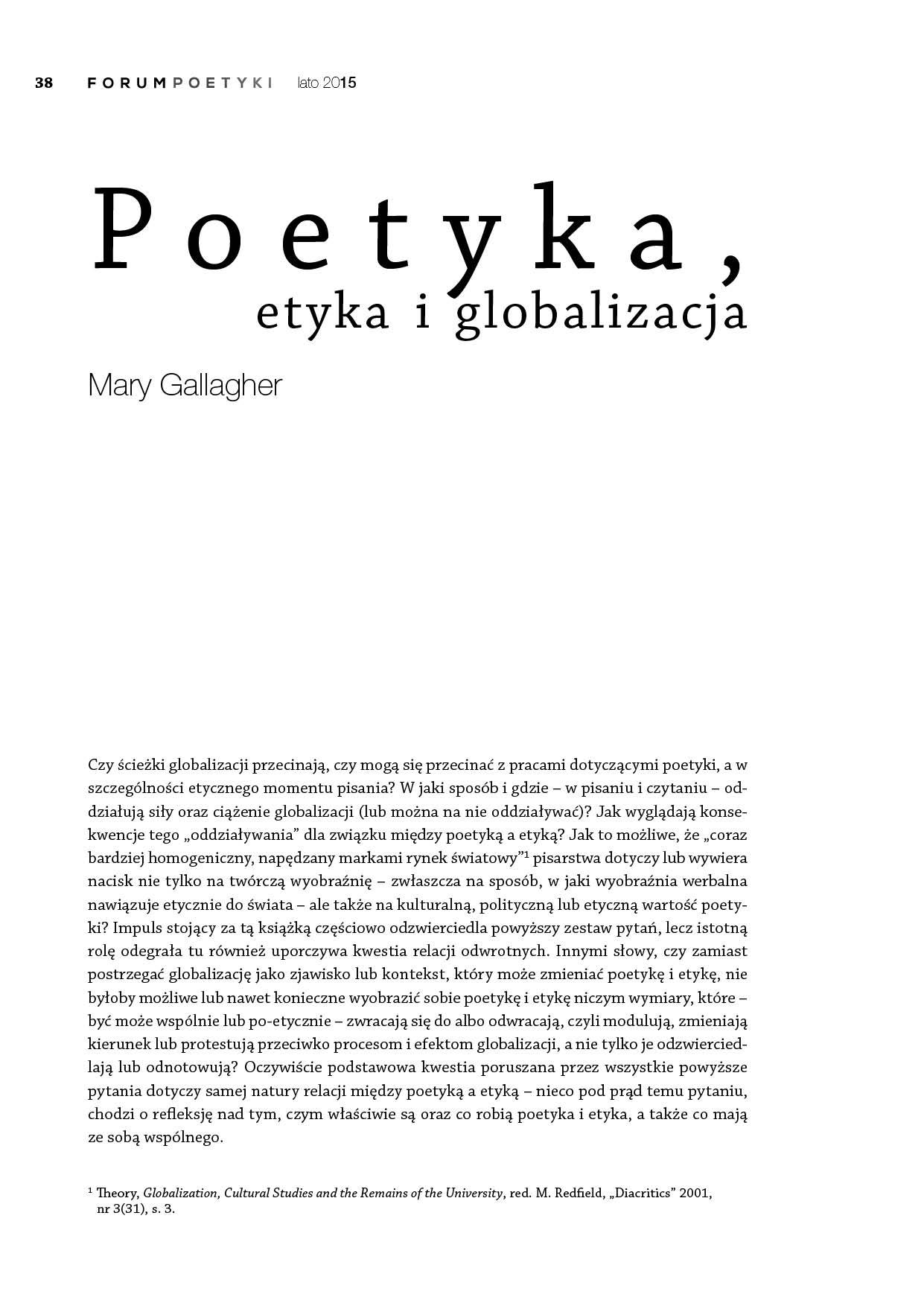 Poetyka, etyka i globalizacja