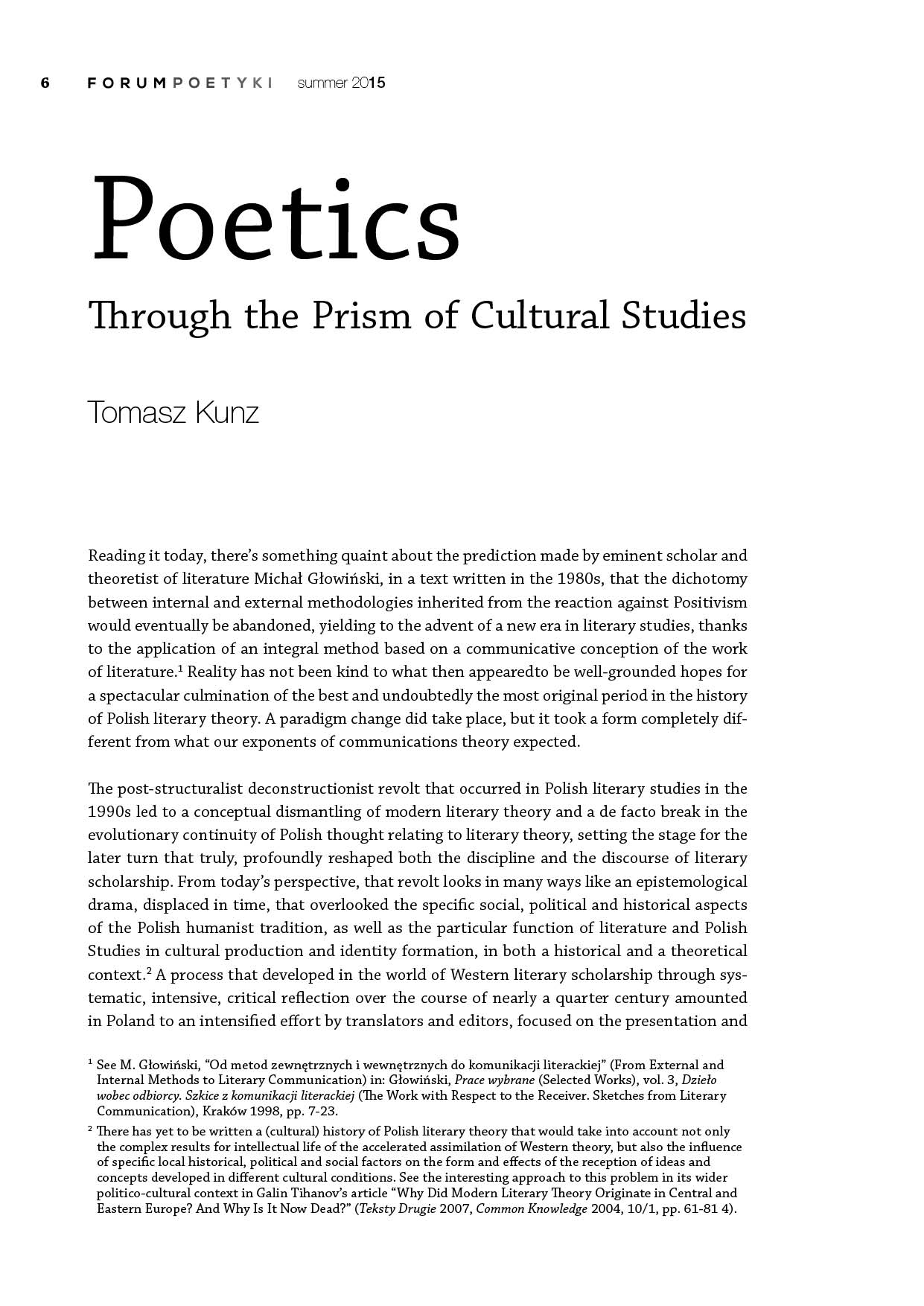 Poetics Through the Prism of Cultural Studies