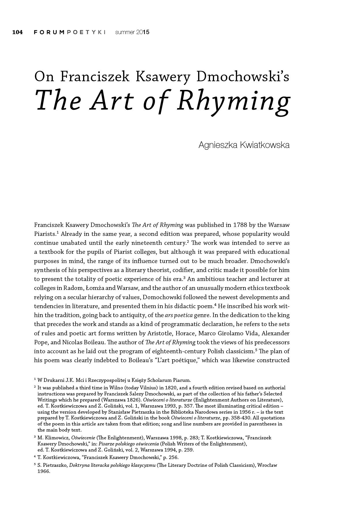 "On Franciszek Ksawery Dmochowski's ""The Art of Rhyming"""