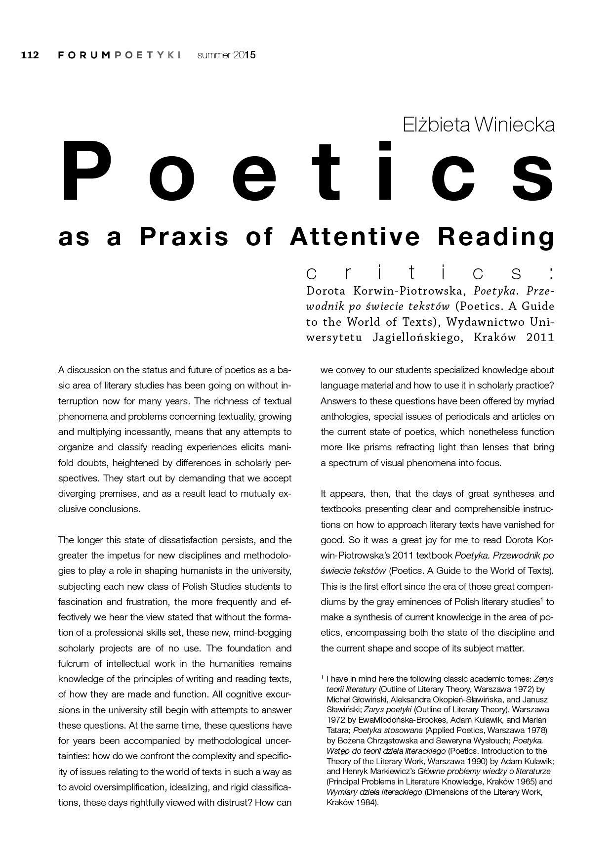 Poetics as Praxis of Attentive Reading