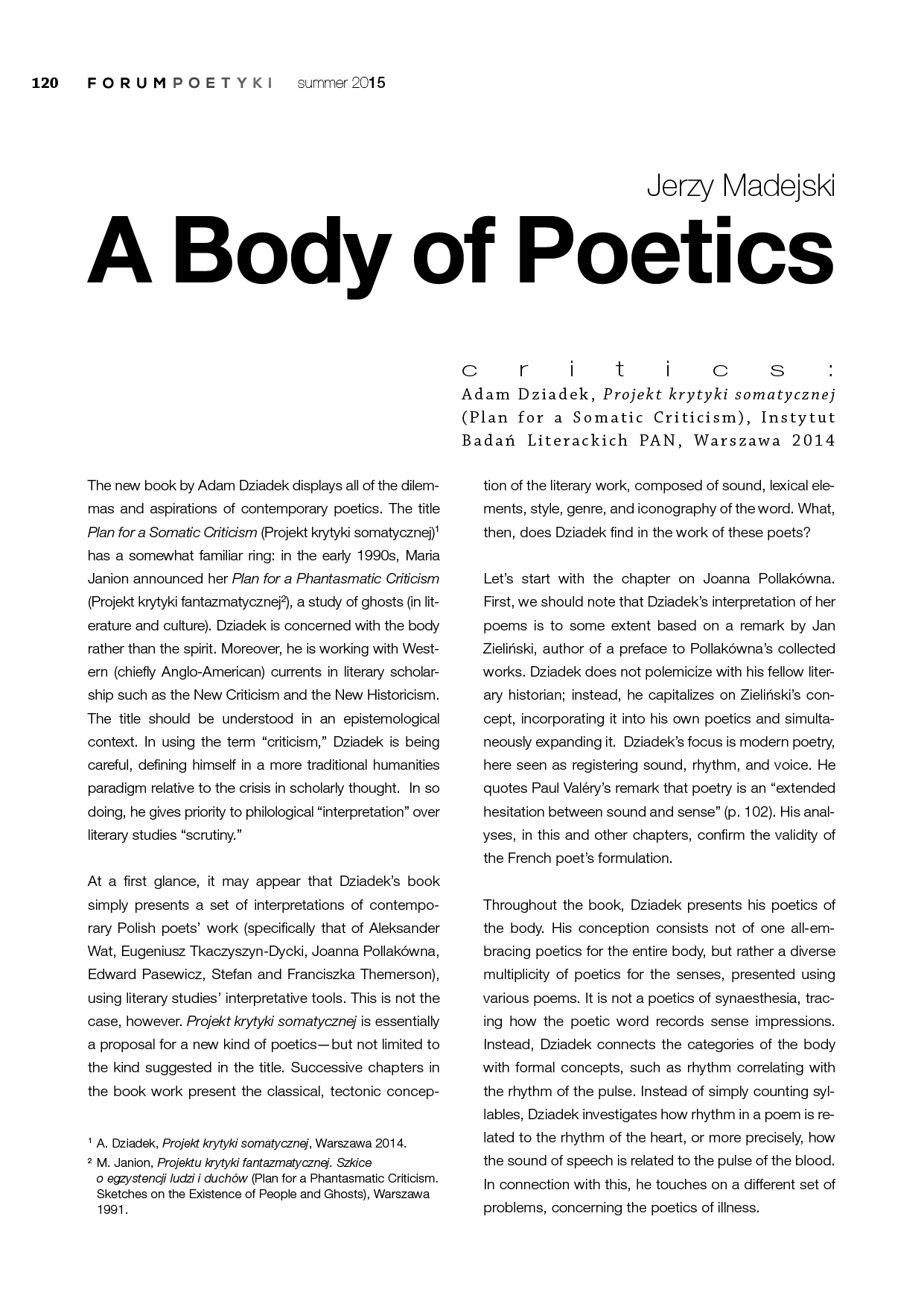 A Body of Poetics