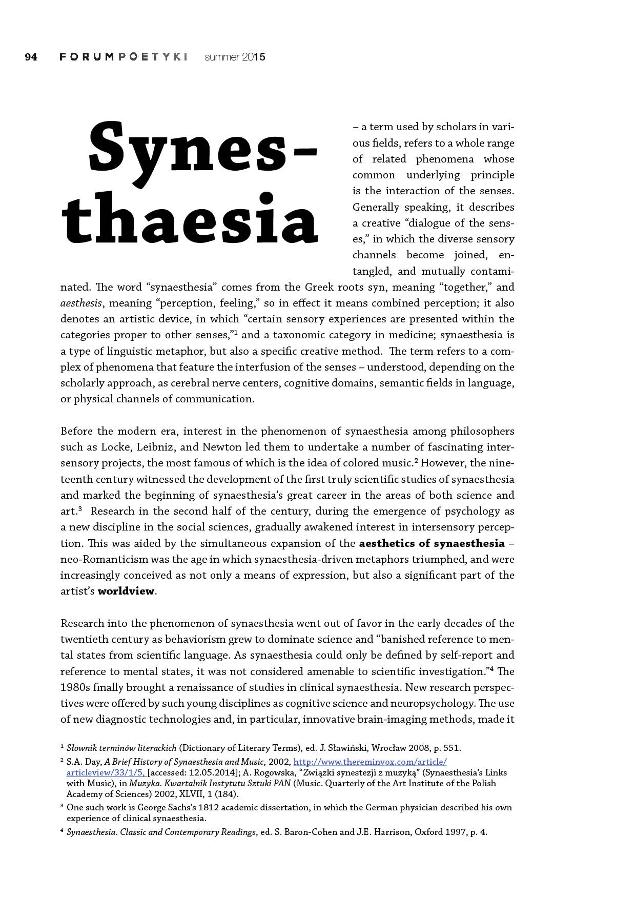Syneasthesia