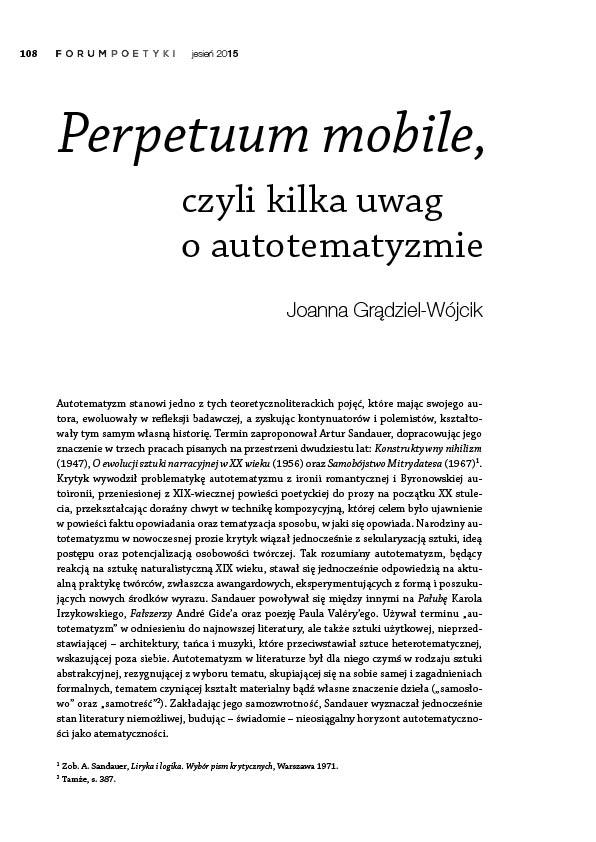 Perpetuum mobile, czyli kilka uwag o autotematyzmie