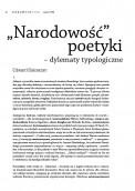 """""""Narodowość"""" poetyki – dylematy typologiczne"""
