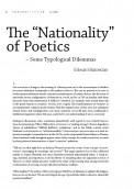 "The ""Nationality"" of Poetics - Some Typological Dilemmas"