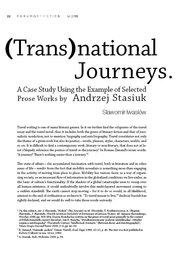 (Trans)national Journeys. A Case Study Using the Example of Selected Prose Work by Andrzej Stasiuk