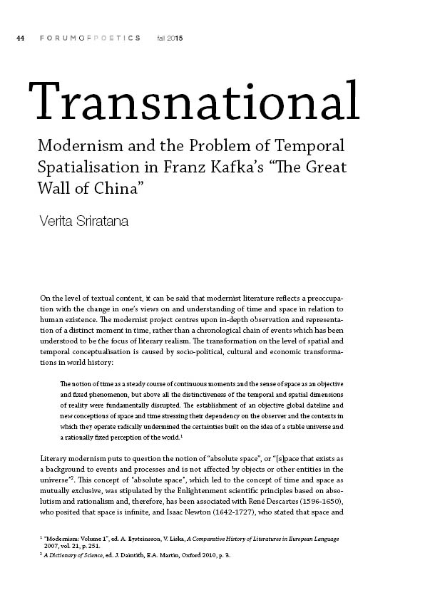 "Transnational Modernism and the Problem of Temporal Spatialisation in Franz Kafka's ""The Great Wall of China"""