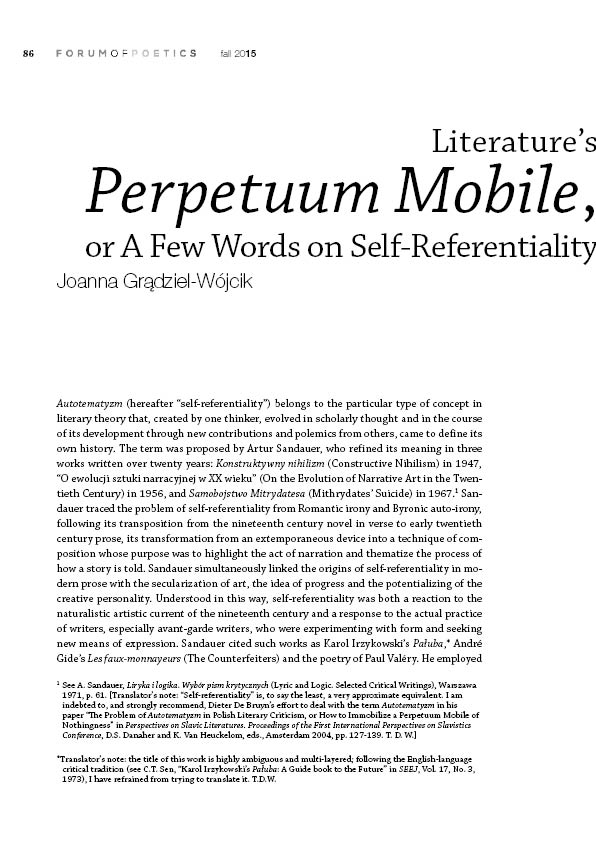 Literature's Perpetuum Mobile, or A Few Words on Self-Referentiality