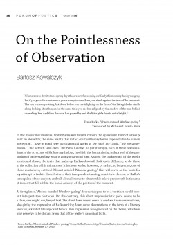 On the Pointlessness of Observation