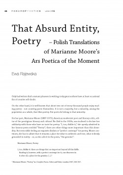 That Absurd Entity, Poetry – Polish Translations of Marianne Moore's Ars Poetica of the Moment
