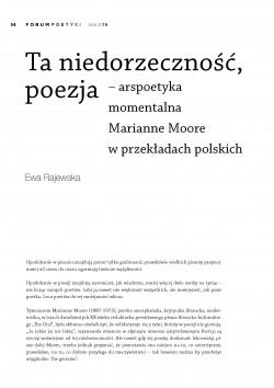 Ta niedorzeczność, poezja – arspoetyka momentalna Marianne Moore w polskich przekładach