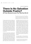 There Is No Salvation Outside Poetry? A Few Questions For Zofia Król