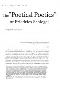 "The ""Poetical Poetics"" of Friedrich Schlegel"