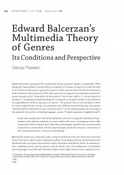 Edward Balcerzan's Multimedia Theory of Genres. Its Conditions and Perspective