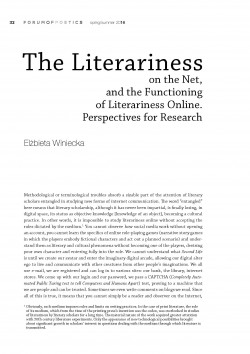 The Literariness on the Net,  and the Functioning of Literariness Online. Perspectives for Research