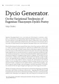 Dycio Generator. On the Variational Tendencies of Eugeniusz Tkaczyszyn-Dycki's Poetry