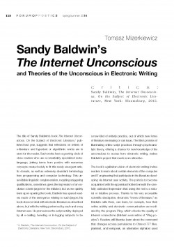 Sandy Baldwin's  The Internet Unconscious and Theories of the Unconscious in Electronic Writing