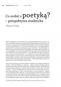 Co zrobić z poetyką? – perspektywa studencka