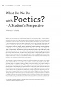 What Do We Do with Poetics? – A Student's Perspective