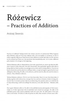 Różewicz – Practices of Addition