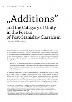 """Additions"" and the Category of Unity in the Poetics of Post-Stanisław Classicism"