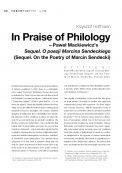 In Praise of Philology – Paweł Mackiewicz's Sequel. O poezji Marcina Sendeckiego (Sequel. On the Poetry of Marcin Sendecki)