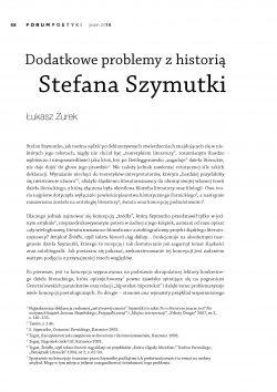 Dodatkowe problemy z historią Stefana Szymutki