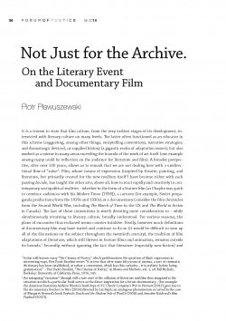 Not Just for the Archive. On the Literary Event and Documentary Film