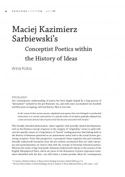Maciej Kazimierz Sarbiewski's Conceptist Poetics within the History of Ideas