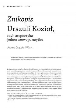 Znikopis Urszuli Kozioł, czyli arspoetyka jednorazowego użytku