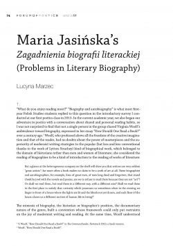 Maria Jasińska's Zagadnienia biografii literackiej (Problems in Literary Biography)