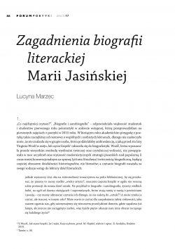 Zagadnienia biografii literackiej Marii Jasińskiej