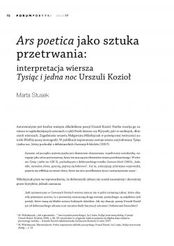 Ars poetica jako sztuka przetrwania: interpretacja wiersza Tysiąc i jedna noc Urszuli Kozioł