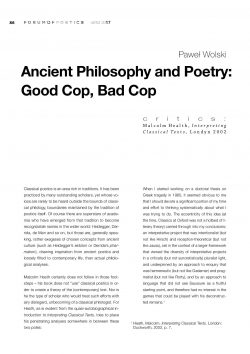 Ancient Philosophy and Poetry: Good Cop, Bad Cop