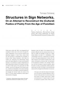 Structures in Sign Networks. On an Attempt to Reconstruct the (Cultural) Poetics of Poetry From the Age of Posivitism