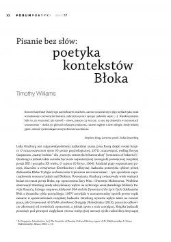 Pisanie bez słów: poetyka kontekstów Błoka