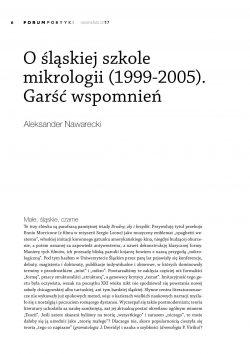 O śląskiej szkole mikrologii (1999-2005). Garść wspomnień