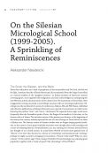 On the Silesian Micrological School (1999-2005). A Sprinkling of Reminiscences