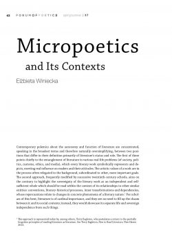 Micropoetics  and Its Contexts