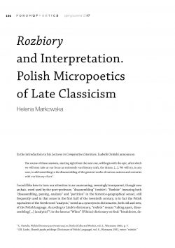 Rozbiory and Interpretation. Polish Micropoetics of Late Classicism