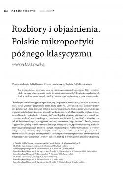 Rozbiory i objaśnienia. Polskie mikropoetyki późnego klasycyzmu