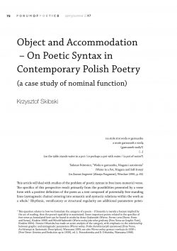 Object and Accommodation  – On Poetic Syntax in Contemporary Polish Poetry  (a case study of nominal function)