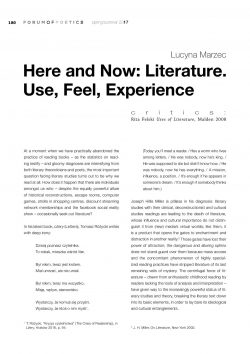 Here and Now: Literature. Use, Feel, Experience