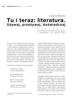 Tu i teraz: literatura. Używaj, przeżywaj, doświadczaj