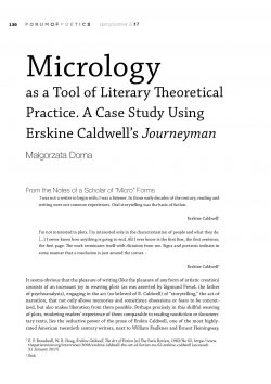 Micrology as a Tool of Literary Theoretical Practice. A Case Study Using Erskine Caldwell's Journeyman