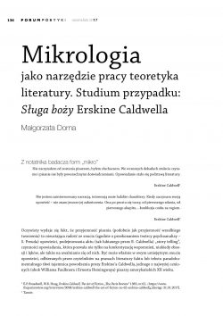 Mikrologia jako narzędzie pracy teoretyka literatury. Studium przypadku: Sługa boży Erskine Caldwella
